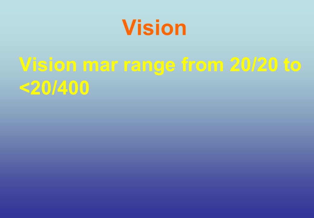 Vision Vision mar range from 20/20 to <20/400