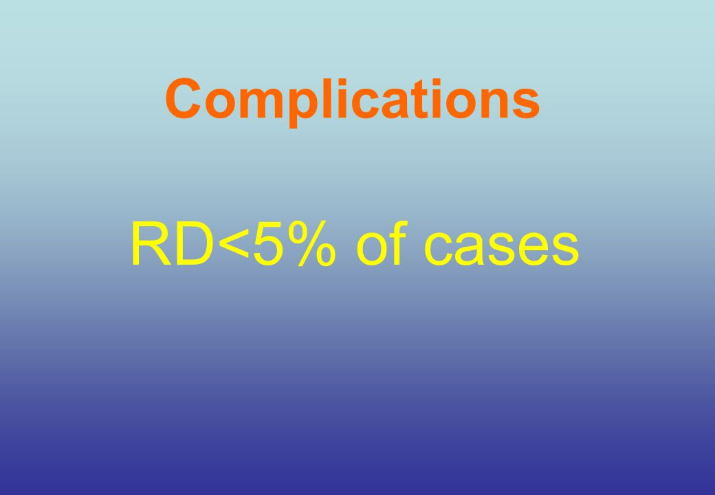 Complications RD<5% of cases