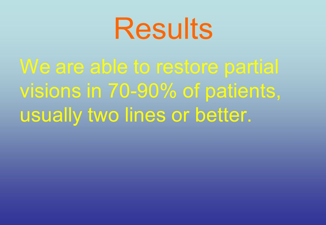 Results We are able to restore partial visions in 70-90% of patients, usually two lines or better.