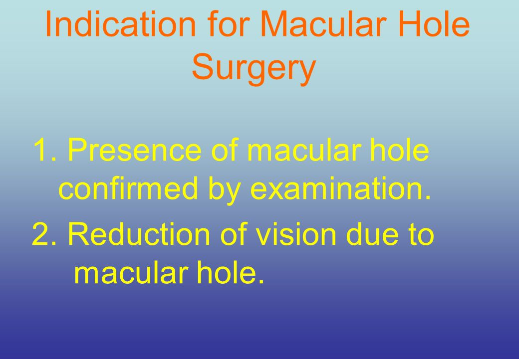 Indication for Macular Hole Surgery 1.Presence of macular hole confirmed by examination.