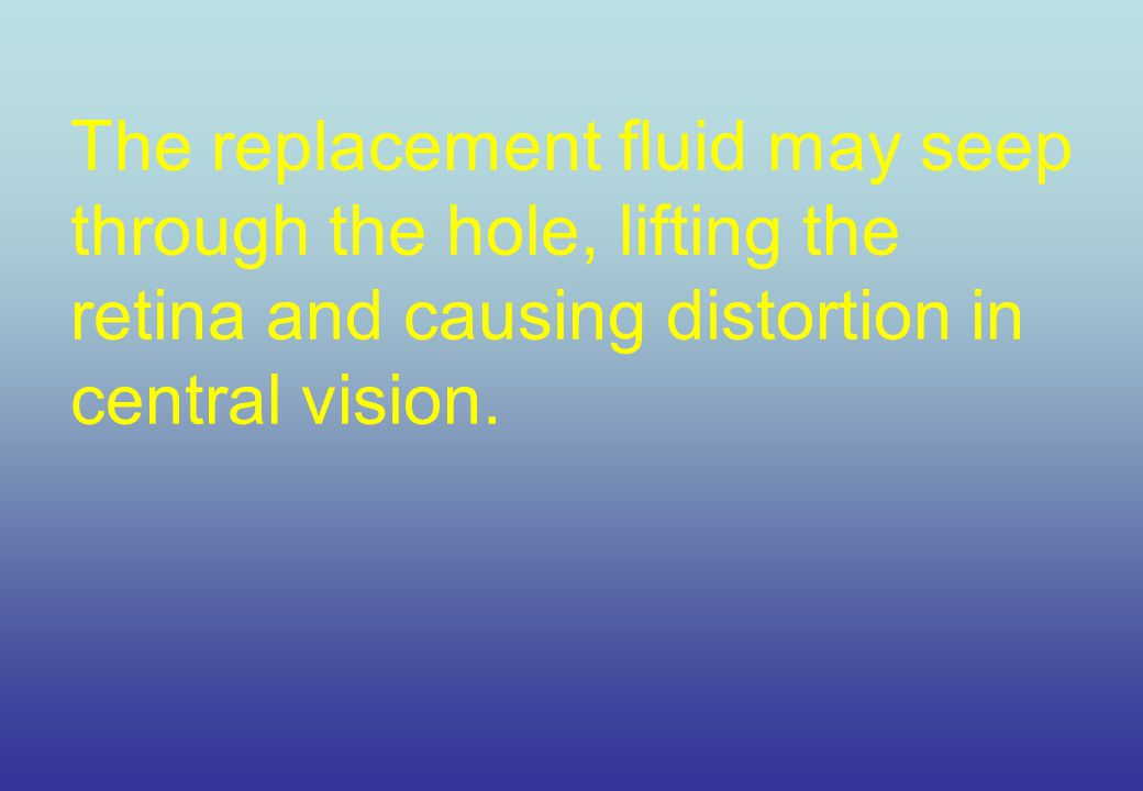 The replacement fluid may seep through the hole, lifting the retina and causing distortion in central vision.