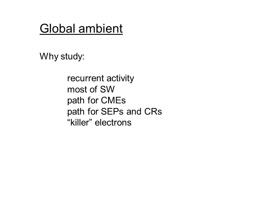 Global ambient Why study: recurrent activity most of SW path for CMEs path for SEPs and CRs killer electrons