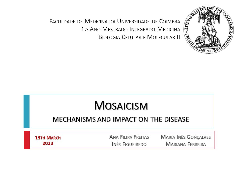 12  [1] The mosaicism effects depend on the:  Stage where the mutation occurs  Nature of the abnormal chromosomes changes  Proportion between normal and abnormal cells  Nature of the affected tissues M OSAICISM : T HE I MPACT ON THE D ISEASE [1] Azevedo, C.; Sunkel, C.E., 2005