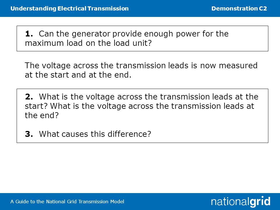 Understanding Electrical TransmissionDemonstration C2 A Guide to the National Grid Transmission Model Task 2 High-voltage transmission Make sure the generator is switched off each time you connect or disconnect components.