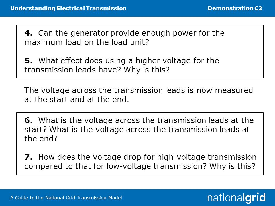 Understanding Electrical TransmissionDemonstration C2 A Guide to the National Grid Transmission Model Task 3 Measuring frequency 8.