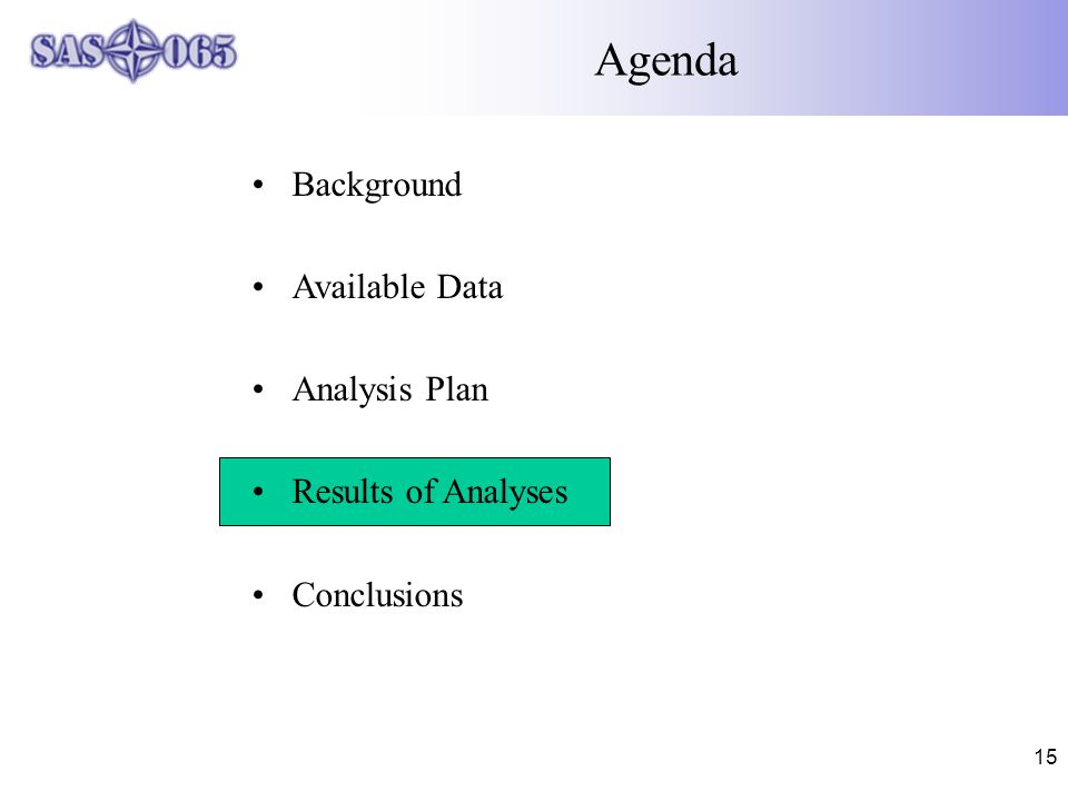 15 Agenda Background Available Data Analysis Plan Results of Analyses Conclusions