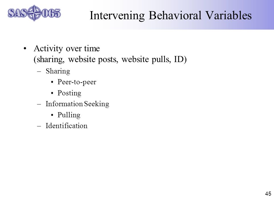 45 Intervening Behavioral Variables Activity over time (sharing, website posts, website pulls, ID) –Sharing Peer-to-peer Posting –Information Seeking Pulling –Identification