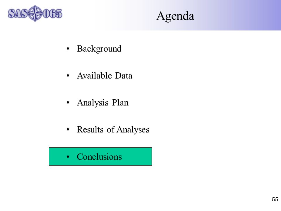 55 Agenda Background Available Data Analysis Plan Results of Analyses Conclusions
