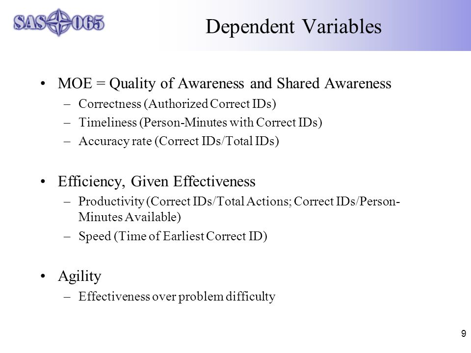 9 Dependent Variables MOE = Quality of Awareness and Shared Awareness –Correctness (Authorized Correct IDs) –Timeliness (Person-Minutes with Correct IDs) –Accuracy rate (Correct IDs/Total IDs) Efficiency, Given Effectiveness –Productivity (Correct IDs/Total Actions; Correct IDs/Person- Minutes Available) –Speed (Time of Earliest Correct ID) Agility –Effectiveness over problem difficulty