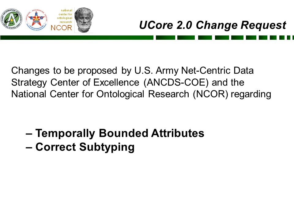 UCore 2.0 Change Request Changes to be proposed by U.S.