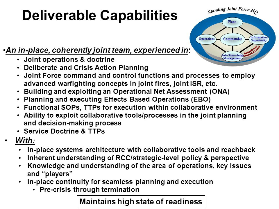 With : In-place systems architecture with collaborative tools and reachback Inherent understanding of RCC/strategic-level policy & perspective Knowled