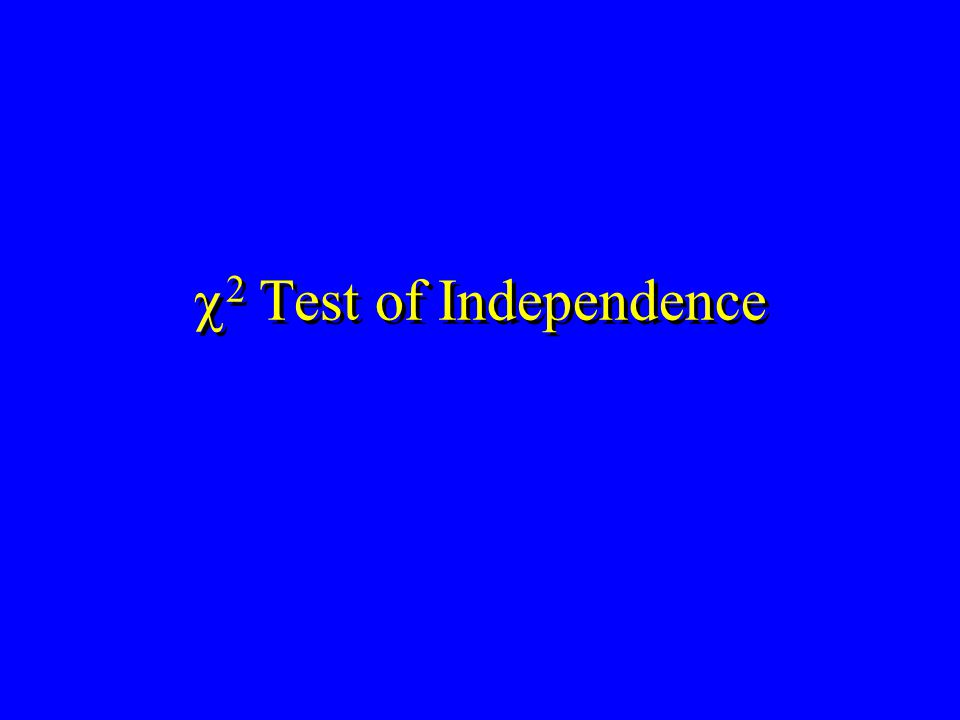  2 Test of Independence