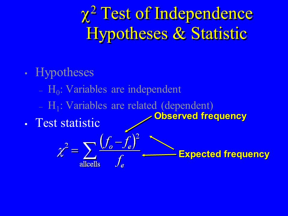  2 Test of Independence Hypotheses & Statistic Hypotheses – H 0 : Variables are independent – H 1 : Variables are related (dependent) Test statistic