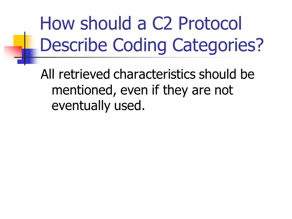 How should a C2 Protocol Describe Coding Categories.