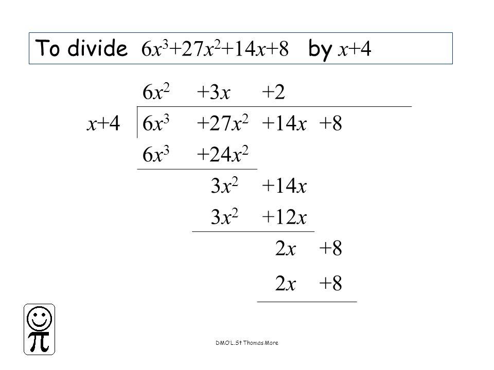 DMO'L.St Thomas More To divide 6x 3 +27x 2 +14x+8 by x+4 6x26x2 +3x+2 x+46x36x3 +27x 2 +14x+8 6x36x3 +24x 2 3x23x2 +14x 3x23x2 +12x 2x2x+8 2x2x