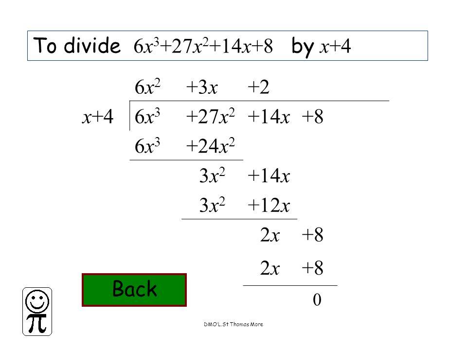 DMO'L.St Thomas More To divide 6x 3 +27x 2 +14x+8 by x+4 6x26x2 +3x+2 x+46x36x3 +27x 2 +14x+8 6x36x3 +24x 2 3x23x2 +14x 3x23x2 +12x 2x2x+8 2x2x 0 Back