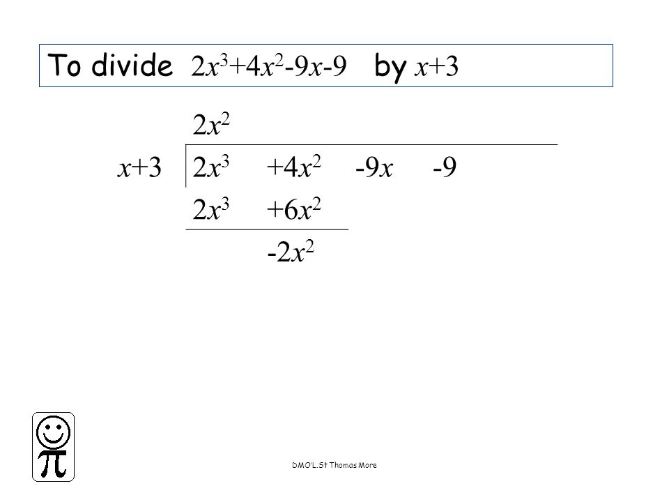 DMO'L.St Thomas More To divide 2x 3 +4x 2 -9x-9 by x+3 2x22x2 x+32x32x3 +4x 2 -9x-9 2x32x3 +6x 2 -2x 2