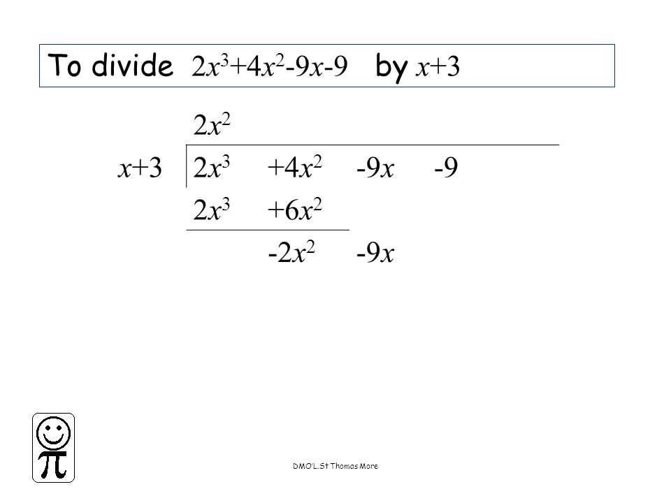 DMO'L.St Thomas More To divide 2x 3 +4x 2 -9x-9 by x+3 2x22x2 x+32x32x3 +4x 2 -9x-9 2x32x3 +6x 2 -2x 2 -9x