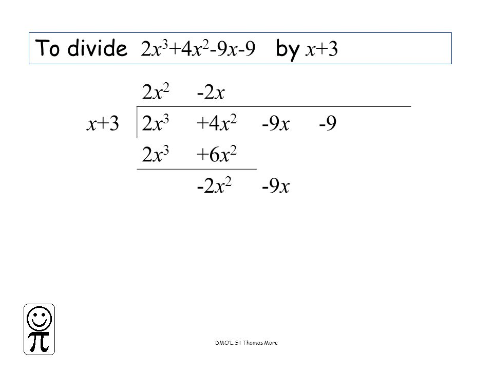 DMO'L.St Thomas More To divide 2x 3 +4x 2 -9x-9 by x+3 2x22x2 -2x x+32x32x3 +4x 2 -9x-9 2x32x3 +6x 2 -2x 2 -9x