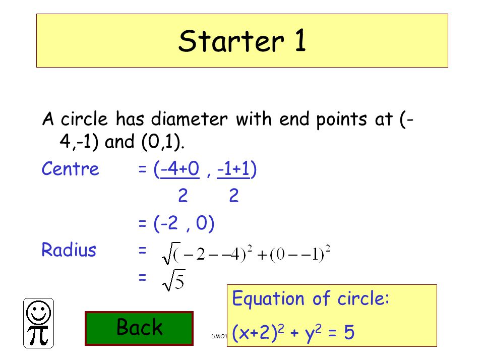 DMO'L.St Thomas More Starter 1 A circle has diameter with end points at (- 4,-1) and (0,1). Centre = (-4+0, -1+1) 2 2 = (-2, 0) Radius = = Equation of
