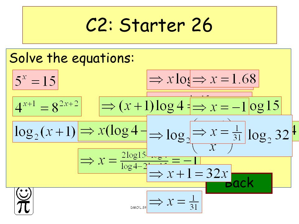 DMO'L.St Thomas More Solve the equations: C2: Starter 26 Back