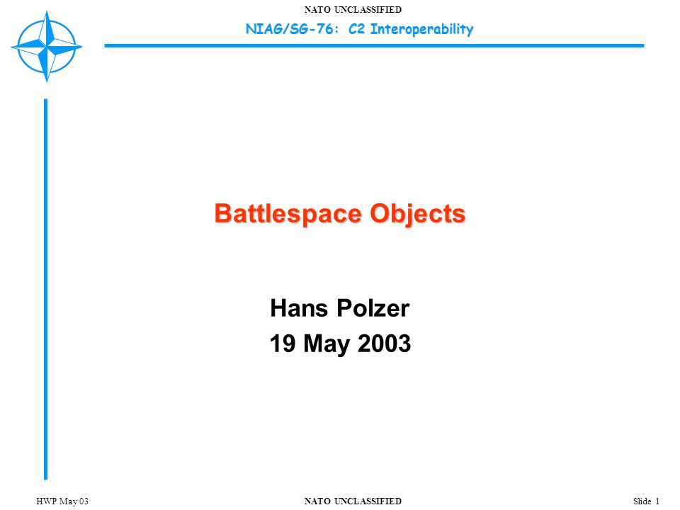 NATO UNCLASSIFIED NIAG/SG-76: C2 Interoperability Slide 12HWP May 03 Battlespace Object Context Make context an explicit part of the information exchange whenever possible  Avoids ambiguity, detects context mismatches  Permits exchange to be propagated beyond C2 nodes involved – information reporting/aggregation  Battlespace object attribute values may vary based on operational context  Facilitates training/exercise/rehearsal interoperability Context is itself a complex concept to capture/represent  Simple context models may suffice for most situations