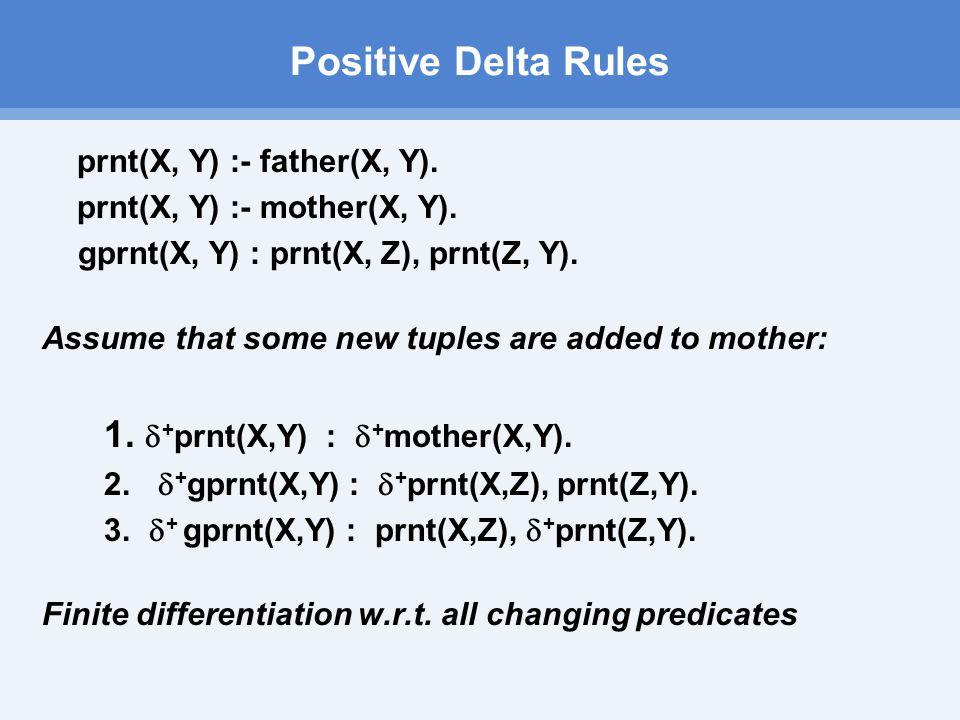 Positive Delta Rules prnt(X, Y) :- father(X, Y). prnt(X, Y) :- mother(X, Y).