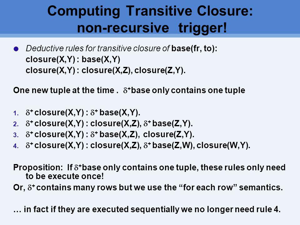 Computing Transitive Closure: non-recursive trigger.