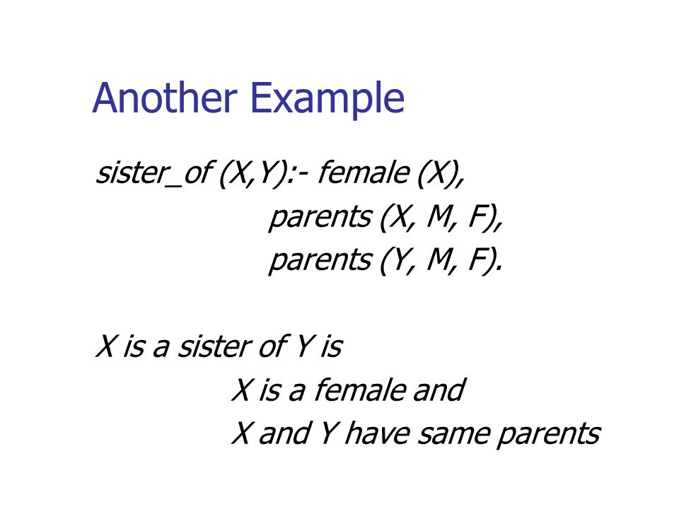 Another Example sister_of (X,Y):- female (X), parents (X, M, F), parents (Y, M, F).