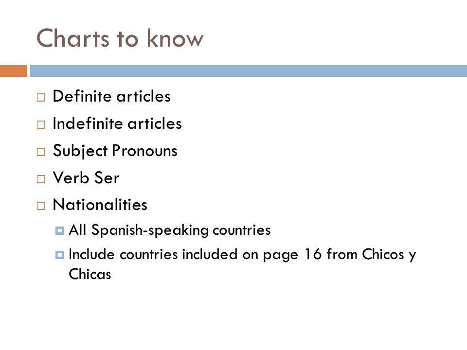 Charts to know  Definite articles  Indefinite articles  Subject Pronouns  Verb Ser  Nationalities  All Spanish-speaking countries  Include countries included on page 16 from Chicos y Chicas