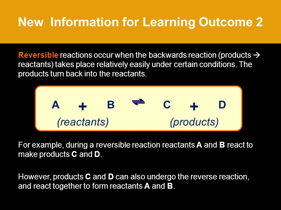 New Information for Learning Outcome 2 Reversible reactions occur when the backwards reaction (products  reactants) takes place relatively easily under certain conditions.