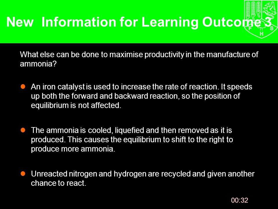 00:33 New Information for Learning Outcome 3 What else can be done to maximise productivity in the manufacture of ammonia.