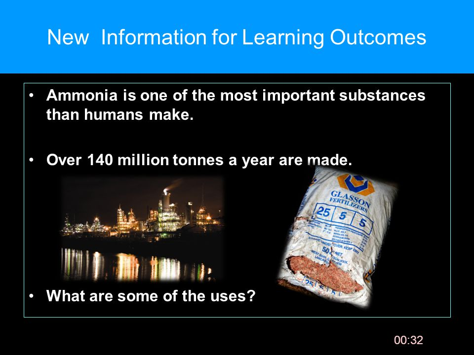 00:33 New Information for Learning Outcomes Ammonia is one of the most important substances than humans make.