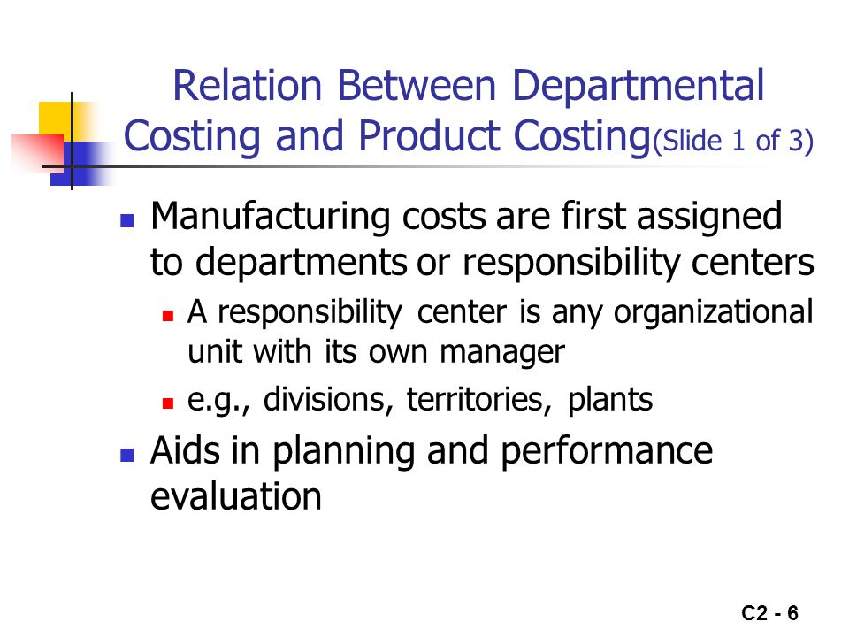 C2 - 7 Relation Between Departmental Costing and Product Costing (Slide 2 of 3) Direct Materials Direct Labor Manufacturing Overhead Product A Product B Assembly Dept.