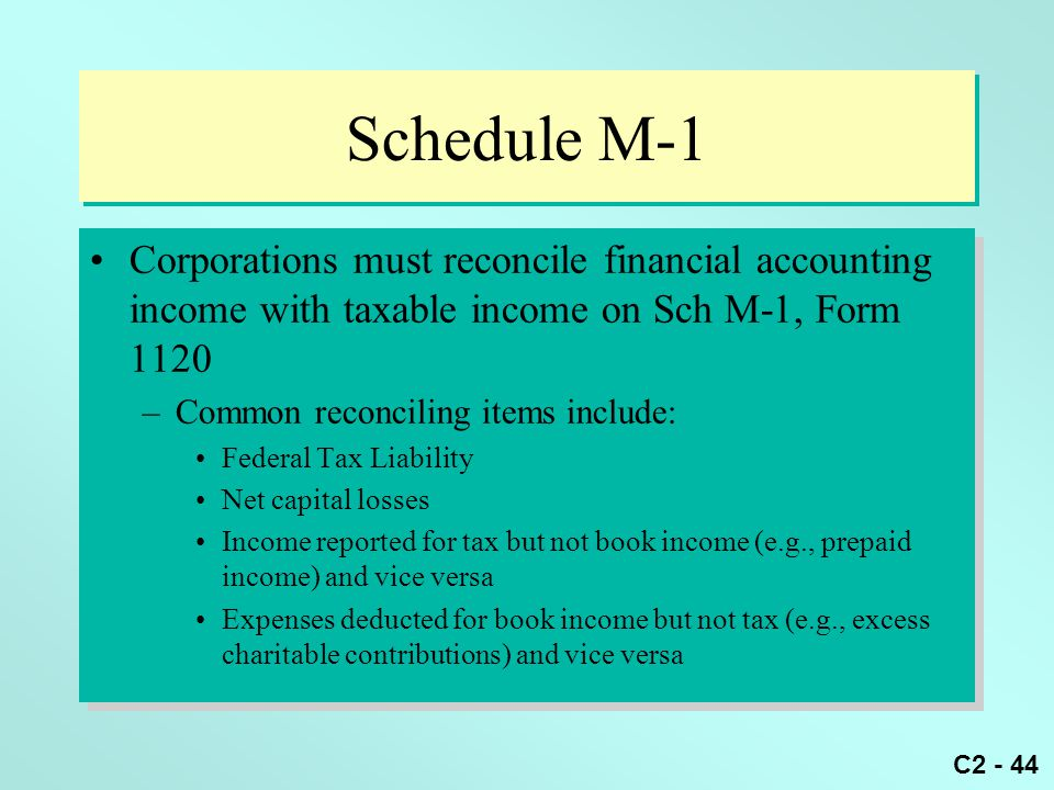 C2 - 44 Schedule M-1 Corporations must reconcile financial accounting income with taxable income on Sch M-1, Form 1120 –Common reconciling items inclu