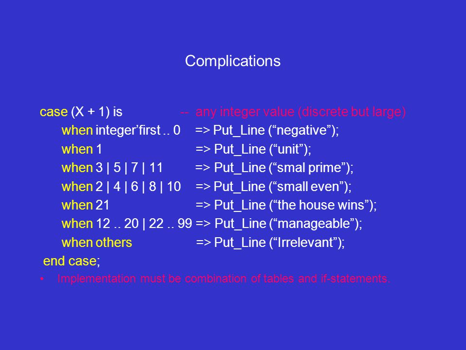 Complications case (X + 1) is -- any integer value (discrete but large) when integer'first..