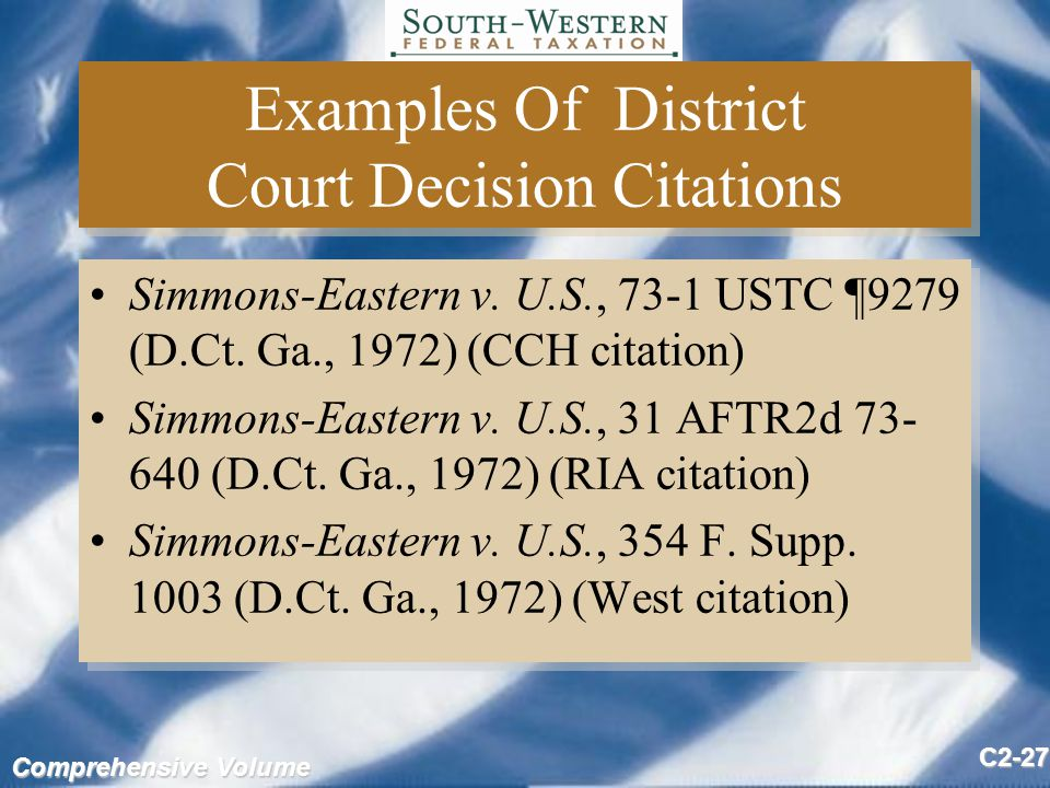 Comprehensive Volume C2-27 Examples Of District Court Decision Citations Simmons-Eastern v.