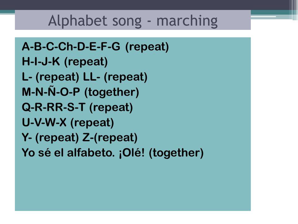 Alphabet song - marching A-B-C-Ch-D-E-F-G (repeat) H-I-J-K (repeat) L- (repeat) LL- (repeat) M-N-Ñ-O-P (together) Q-R-RR-S-T (repeat) U-V-W-X (repeat) Y- (repeat) Z-(repeat) Yo sé el alfabeto.