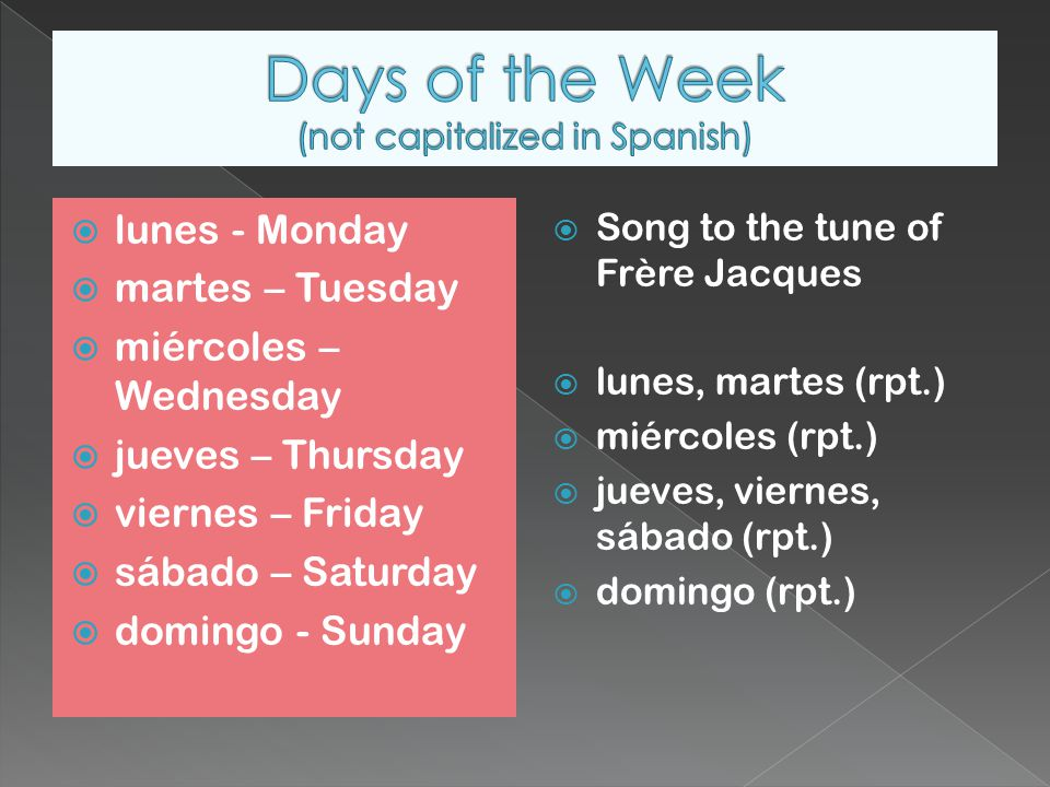  lunes - Monday  martes – Tuesday  miércoles – Wednesday  jueves – Thursday  viernes – Friday  sábado – Saturday  domingo - Sunday  Song to the tune of Frère Jacques  lunes, martes (rpt.)  miércoles (rpt.)  jueves, viernes, sábado (rpt.)  domingo (rpt.)