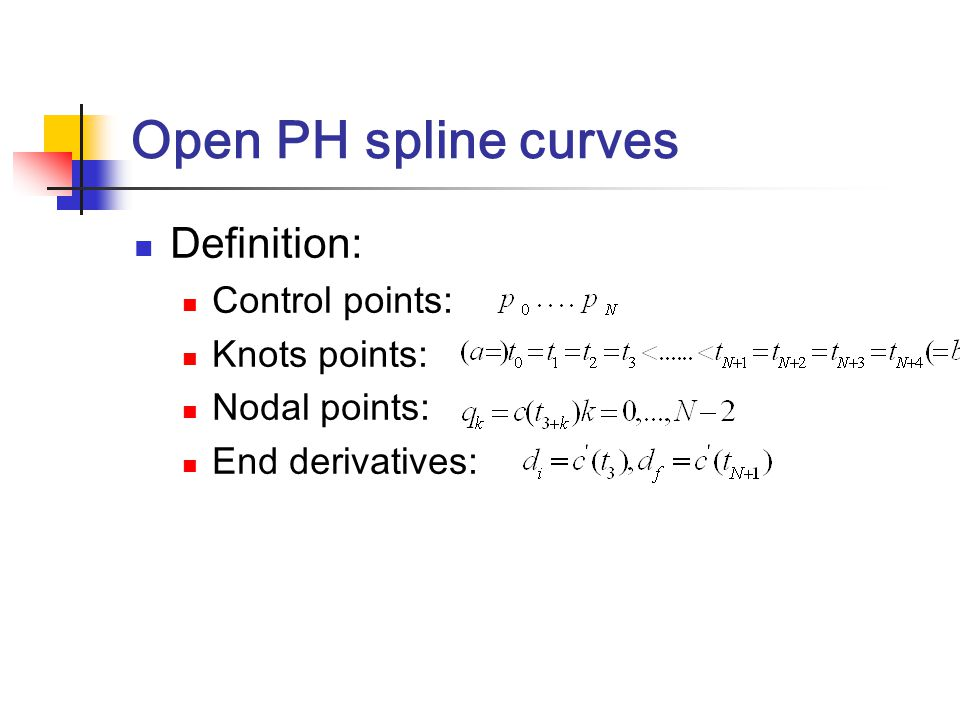 Open PH spline curves Definition: Control points: Knots points: Nodal points: End derivatives: