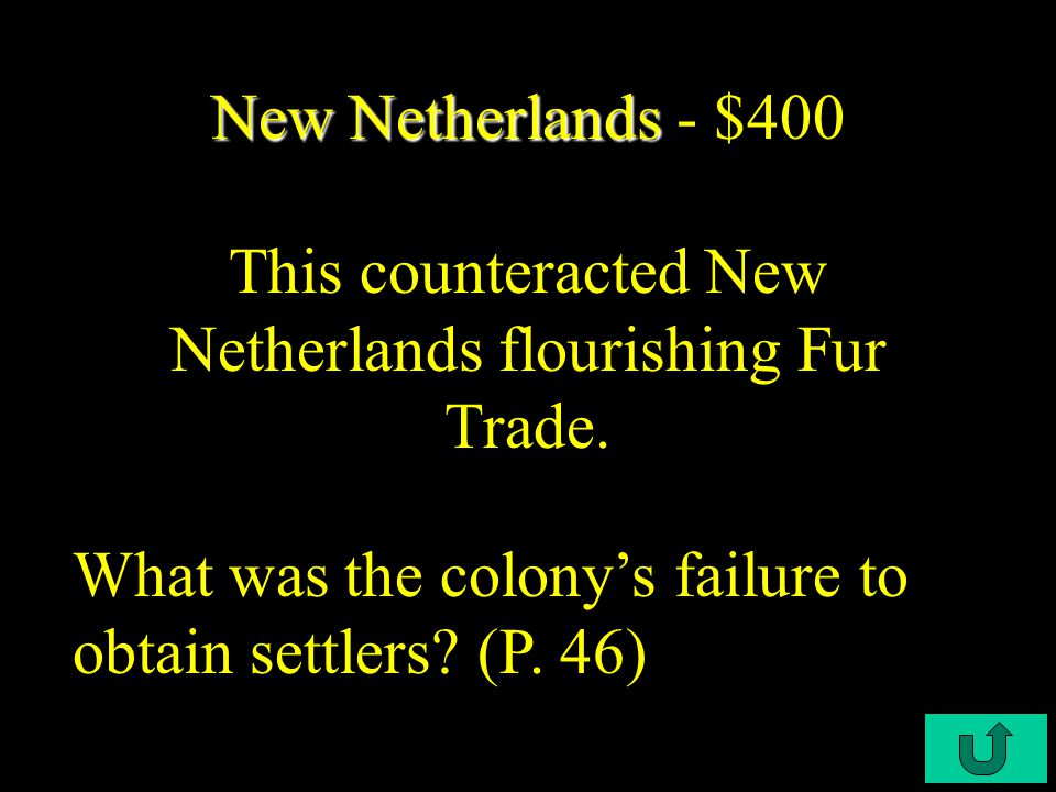 C3-$200 New Netherlands New Netherlands - $200 The Dutch merchants controlled this part of the New World. What was Western and Northern Europe? (P. 45