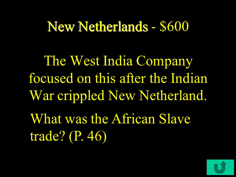 C3-$400 New Netherlands New Netherlands - $400 This counteracted New Netherlands flourishing Fur Trade. What was the colony's failure to obtain settle