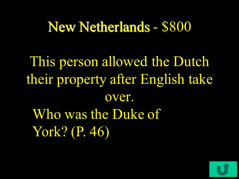 C3-$600 New Netherlands New Netherlands - $600 The West India Company focused on this after the Indian War crippled New Netherland. What was the Afric