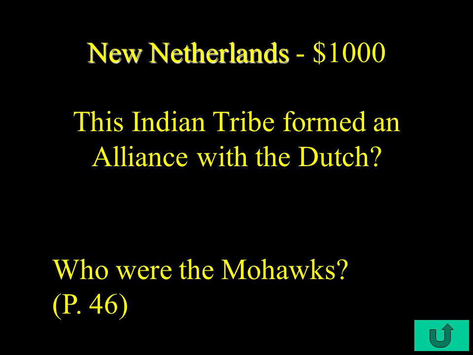 C3-$800 New Netherlands New Netherlands - $800 This person allowed the Dutch their property after English take over.