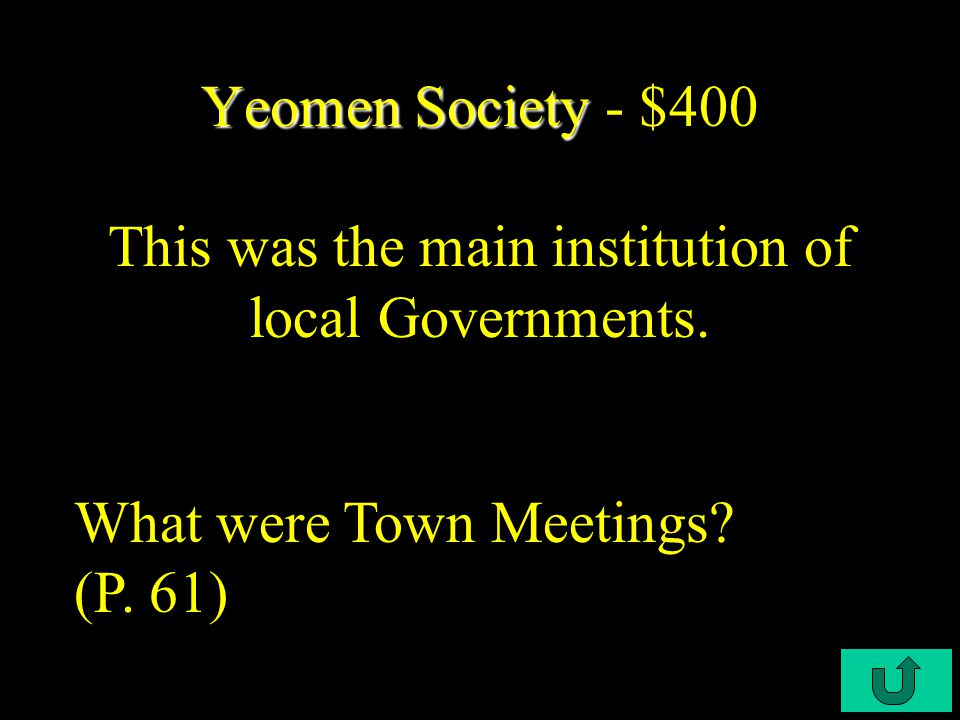 C4-$200 Yeomen Society Yeomen Society - $200 This group of settlers distributed land among the male heads of households.