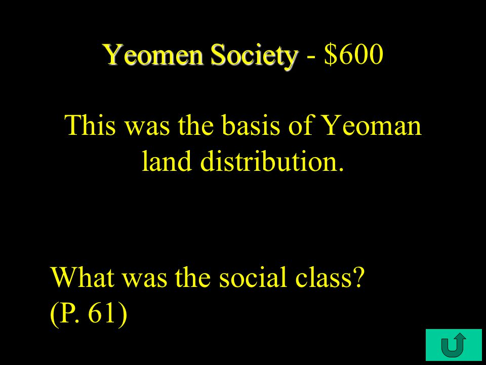 C4-$400 Yeomen Society Yeomen Society - $400 This was the main institution of local Governments. What were Town Meetings? (P. 61)