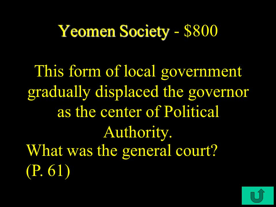 C4-$600 Yeomen Society Yeomen Society - $600 This was the basis of Yeoman land distribution. What was the social class? (P. 61)