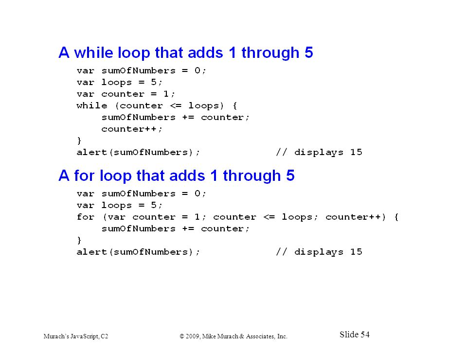 Murach's JavaScript, C2© 2009, Mike Murach & Associates, Inc. Slide 54