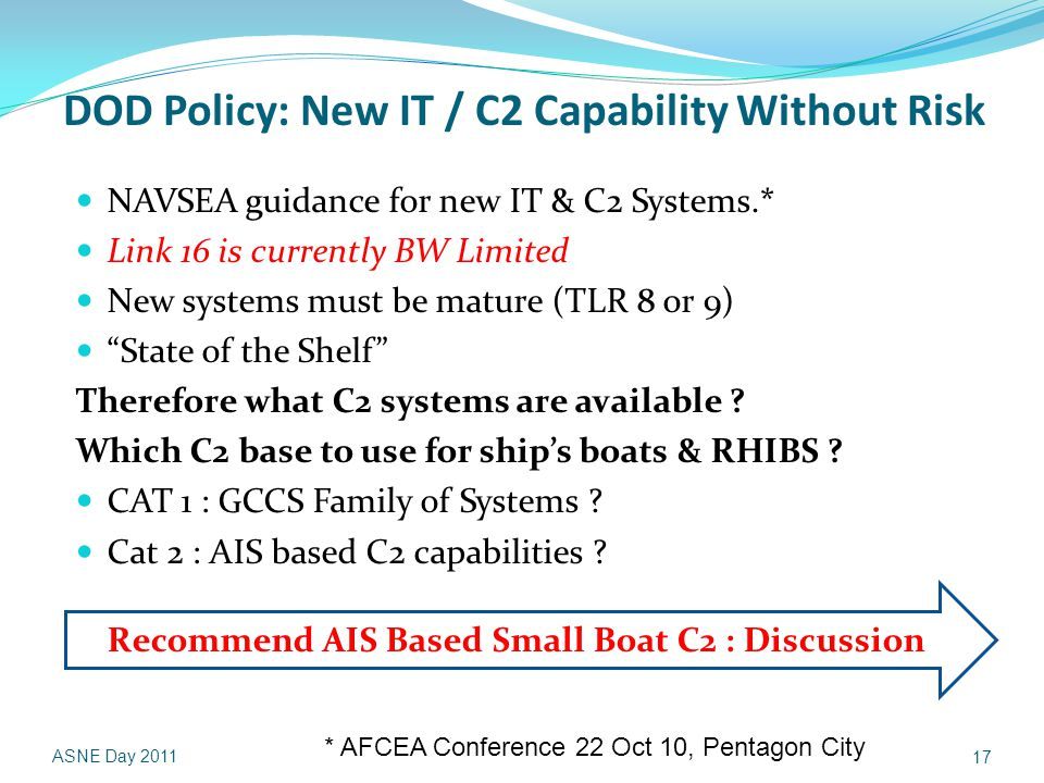 DOD Policy: New IT / C2 Capability Without Risk NAVSEA guidance for new IT & C2 Systems.* Link 16 is currently BW Limited New systems must be mature (TLR 8 or 9) State of the Shelf Therefore what C2 systems are available .