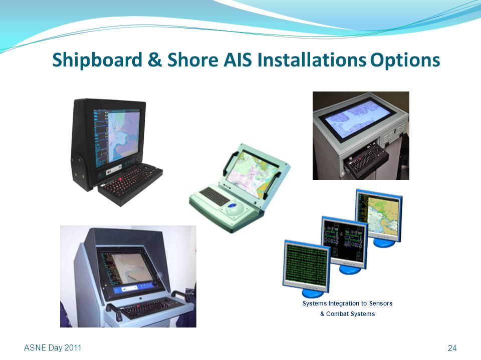Shipboard & Shore AIS Installations Options ASNE Day 2011 24 Systems Integration to Sensors & Combat Systems